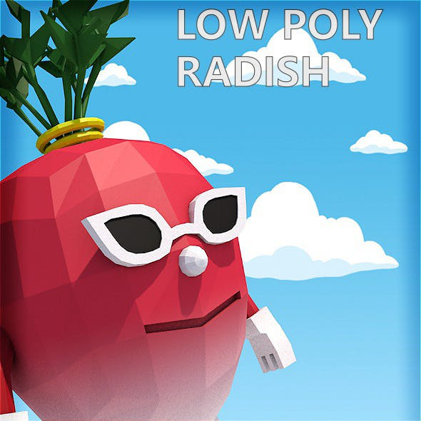 Low poly radish character