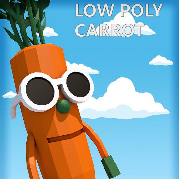 Low poly carrot character