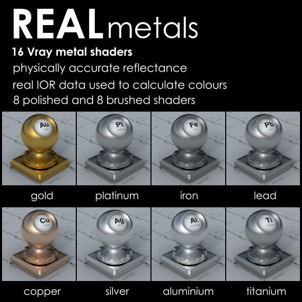 REAL metal Vray shaders - 3DOcean Item for Sale