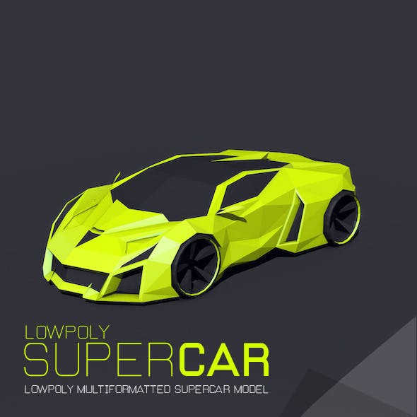 low poly super car - 3DOcean Item for Sale