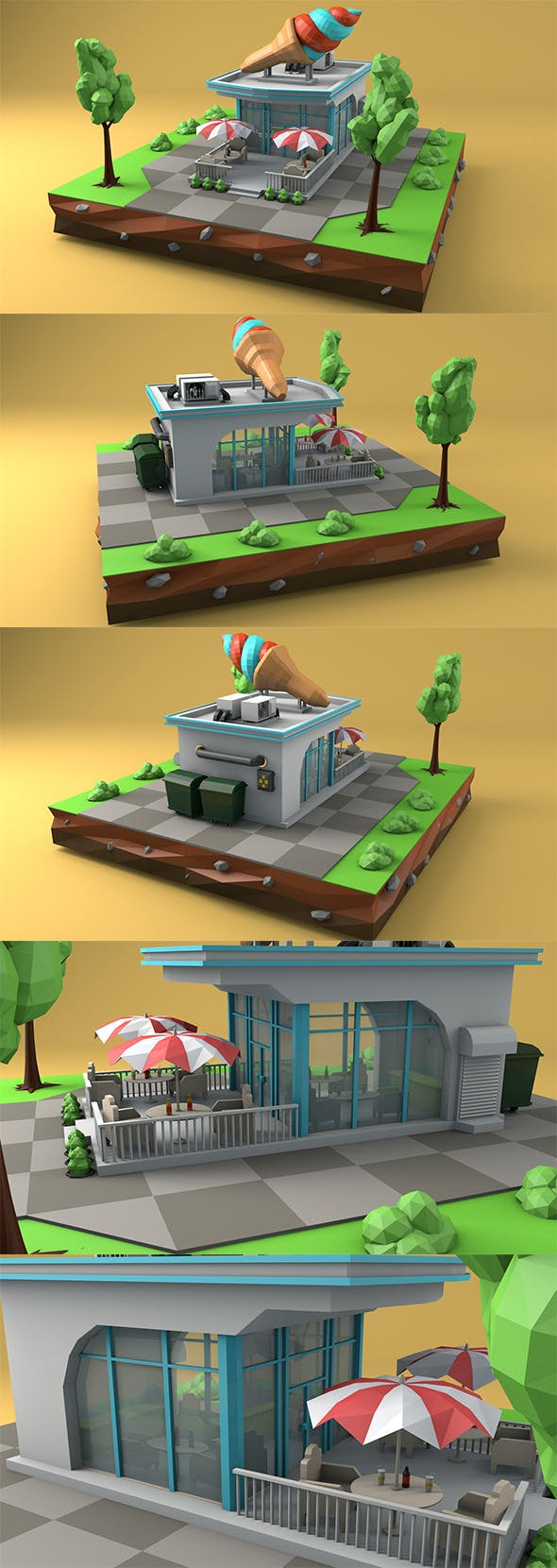 Low Poly Ice Cream Cafe - 3DOcean Item for Sale