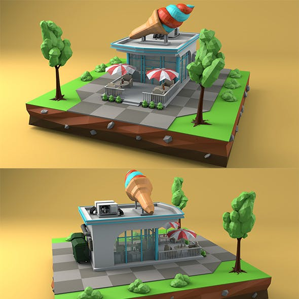 Low Poly Ice Cream Cafe