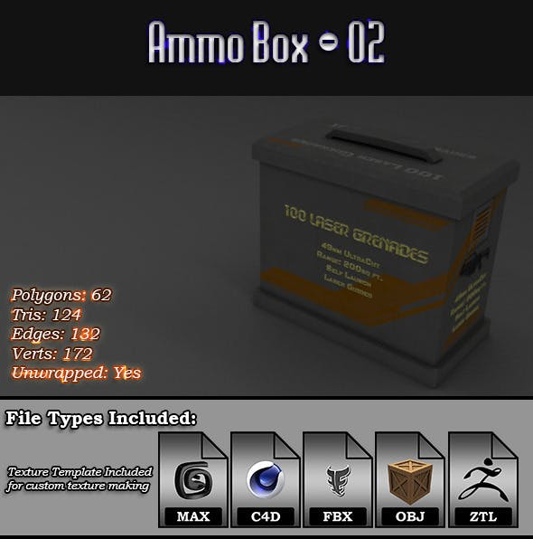 Low Poly AmmoBox - 02 - 3DOcean Item for Sale