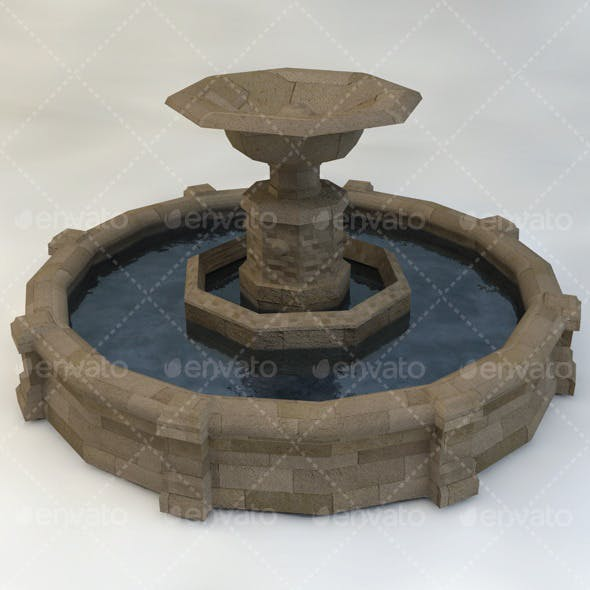 Fountain Low-Poly - 3DOcean Item for Sale