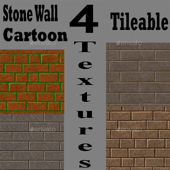 Stone Wall Cartoon Texture Pack - 3DOcean Item for Sale