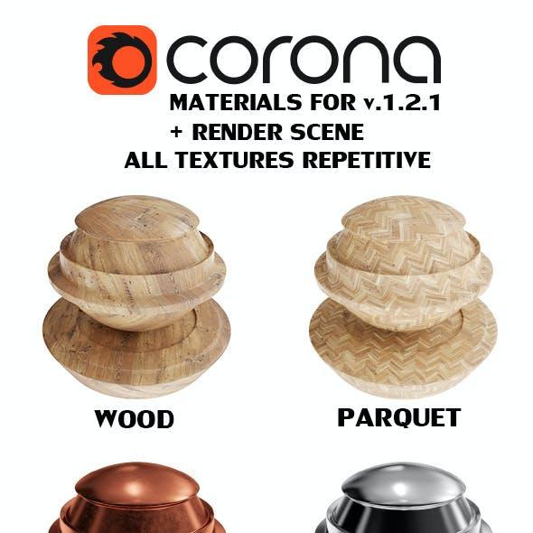 Corona materials + render scene