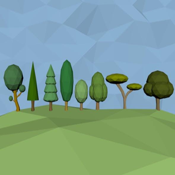 low poly tree packs in 8 models - 3DOcean Item for Sale