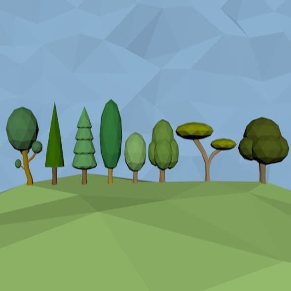 low poly tree packs in 8 models