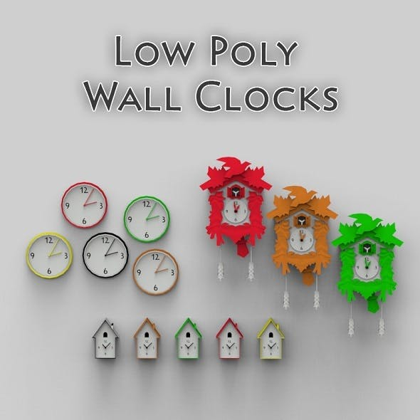Low Poly Wall Clocks - 3DOcean Item for Sale