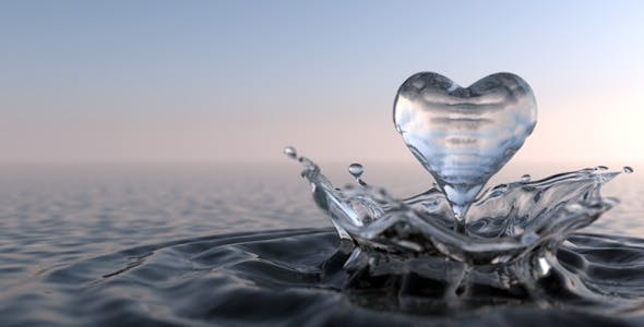 Liquid Heart Drop and Splash with Waves - 3DOcean Item for Sale