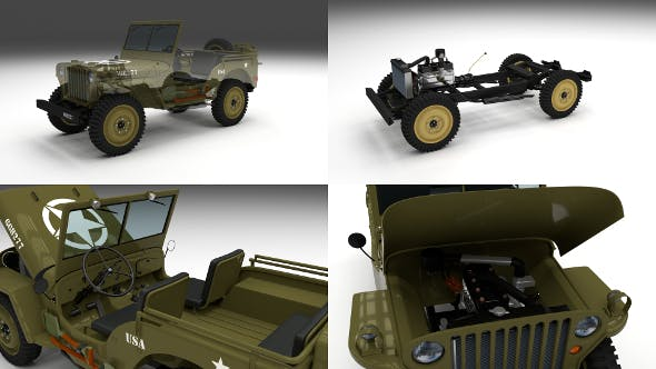 Full (w chassis) Jeep Willys MB Military - 3DOcean Item for Sale