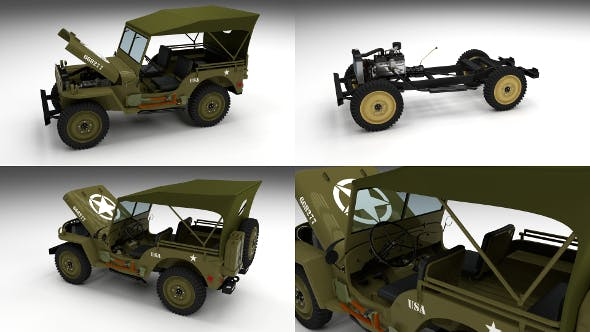 Full (w chassis) Jeep Willys MB Military Top - 3DOcean Item for Sale