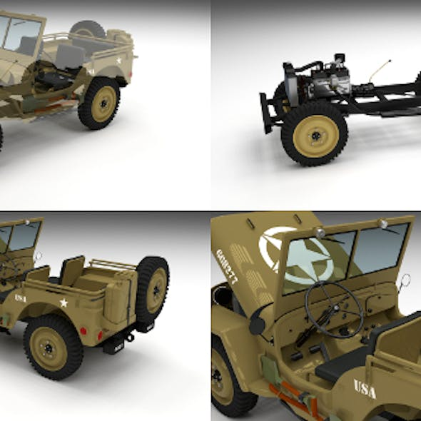 Full (w chassis) Jeep Willys MB Military Desert