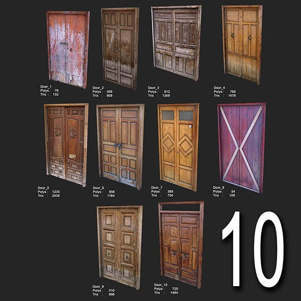 10 Low Poly Door
