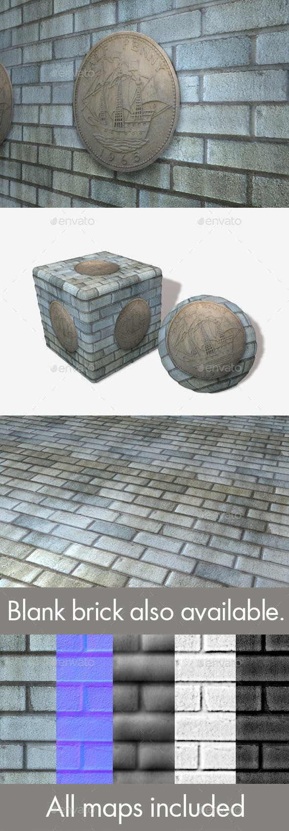 Blue Grey Stone Penny Pattern Seamless Texture - 3DOcean Item for Sale