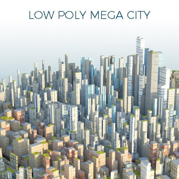 Low Poly Mega City With Textures