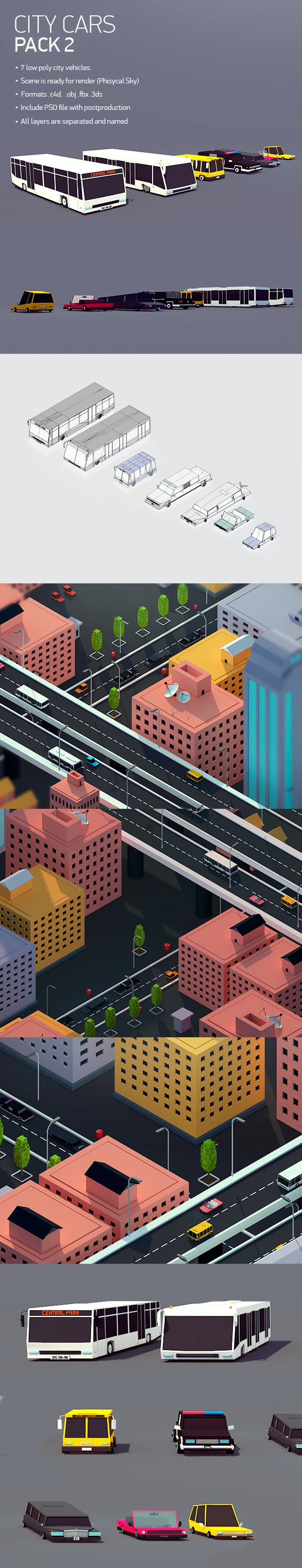 Low poly City Car Pack 2 - 3DOcean Item for Sale