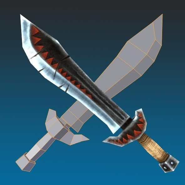 Low Poly Orc Sword Hand Painted 1