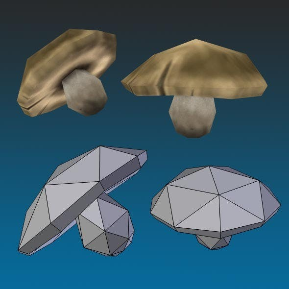 Low Poly Boletus Mushroom Hand Painted - 3DOcean Item for Sale