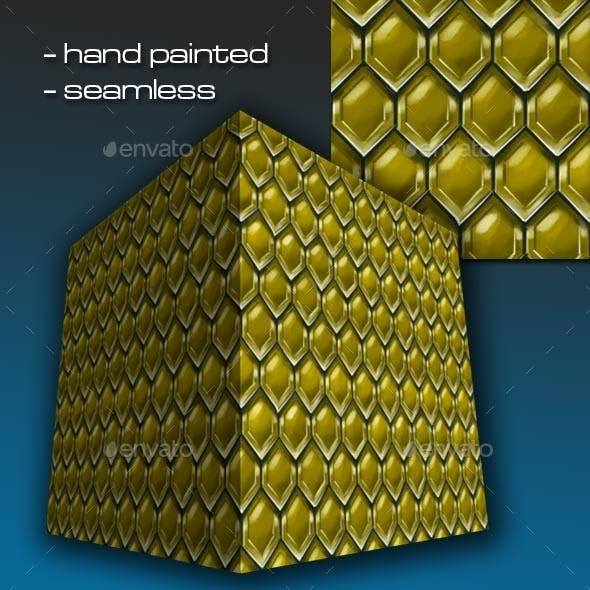 Seamless Hand Painted Golden Dwarven Scale Mail 1