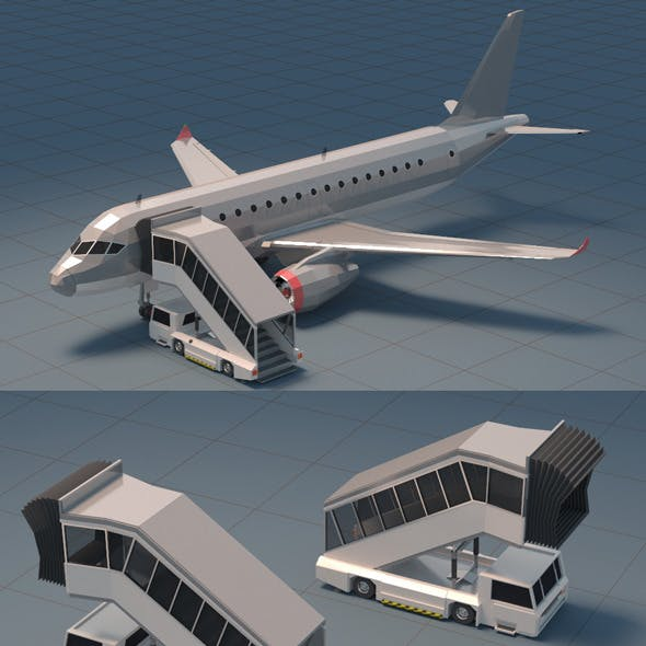 Low Poly Jet Plane with Airport Gangway