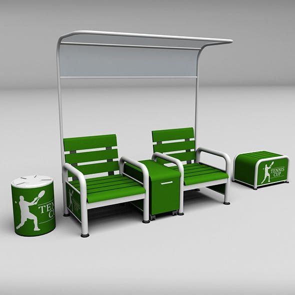 Tennis court bench chair - 3DOcean Item for Sale