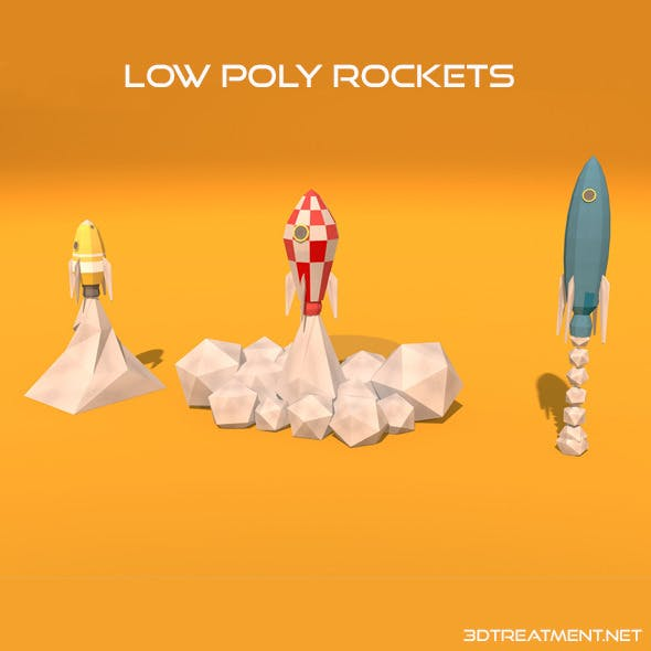 3 Low Poly Rockets