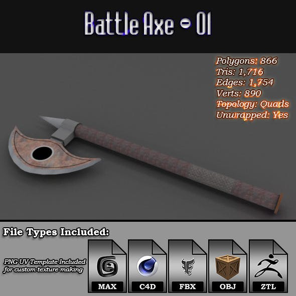 Low Poly Battle Axe - 01