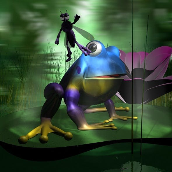 Frogs and Mosquito in a complete cartoon scene