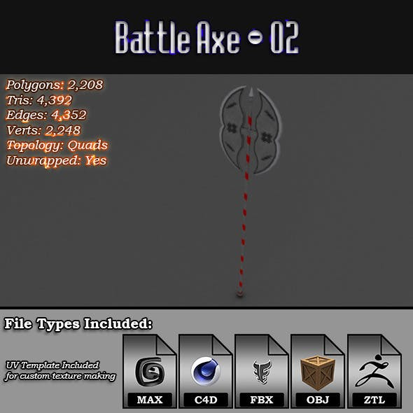 Low Poly Battle Axe - 02