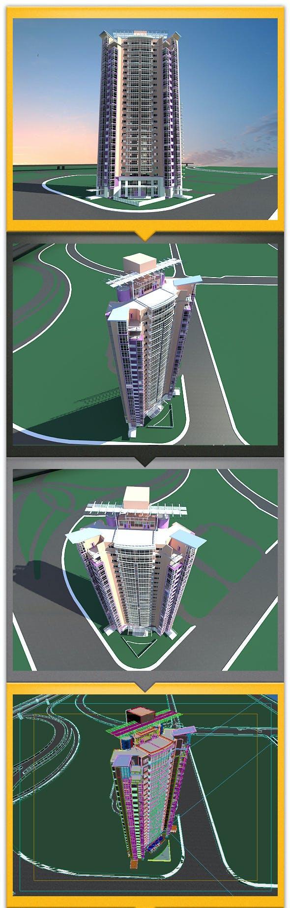 apartment building - 3DOcean Item for Sale