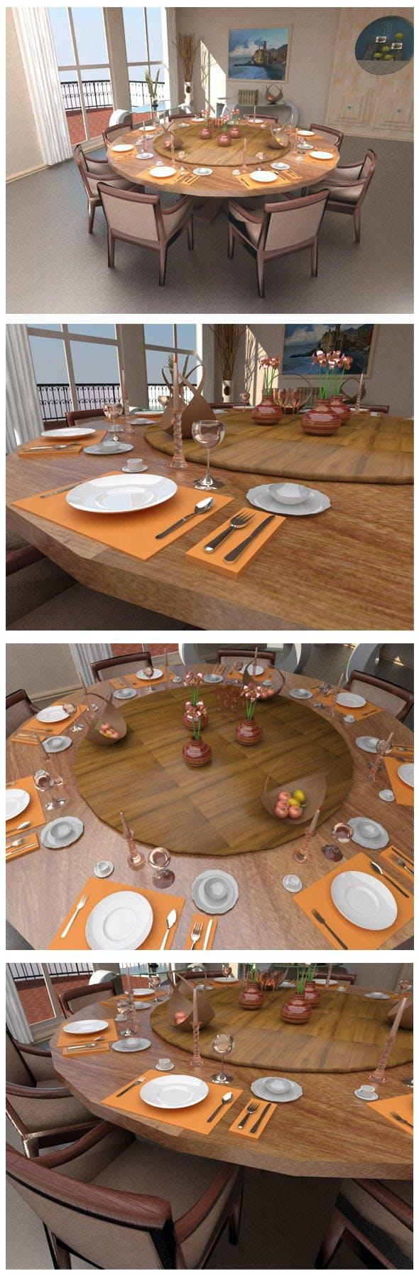 Dinner table set - 3DOcean Item for Sale