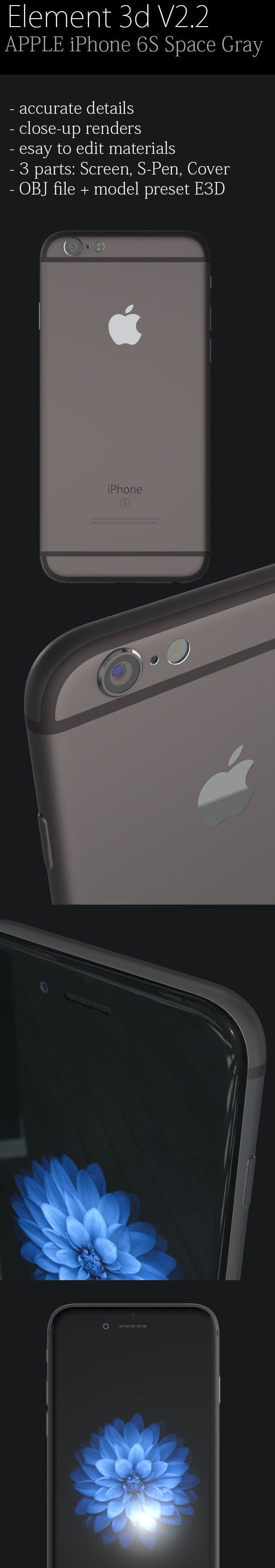 Element3D - Apple iPhone 6S Space Gray - 3DOcean Item for Sale