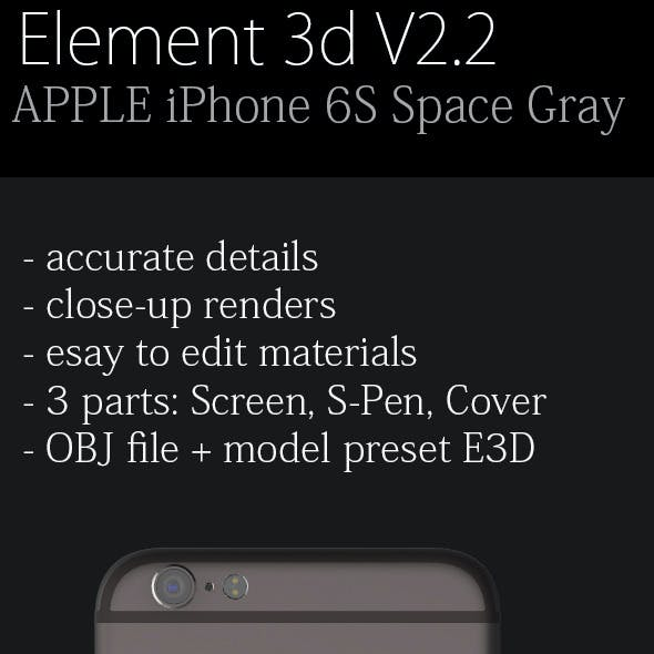 Element3D - Apple iPhone 6S Space Gray