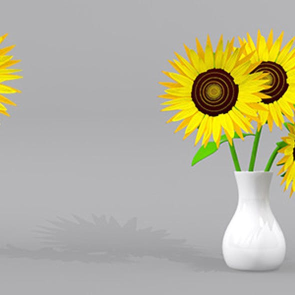 Sunflower and Sunflowers with Pots 3D Model