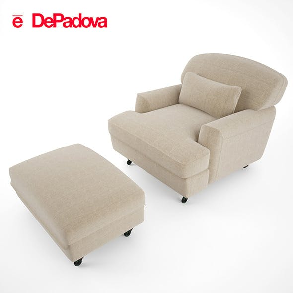 De Padova - Raffles Armchair and Ottoman - 3DOcean Item for Sale