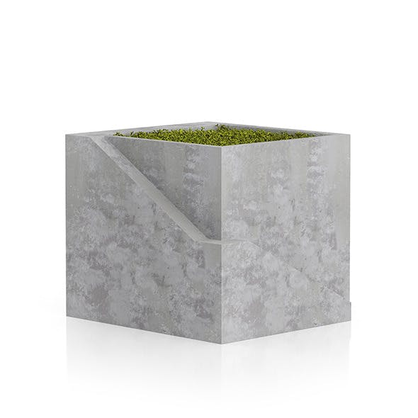 Sqaure Moss Pot - 3DOcean Item for Sale