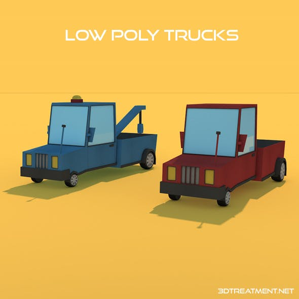 2 Low Poly Trucks - 3DOcean Item for Sale