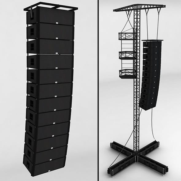 Speaker concert system scaffolding tower array