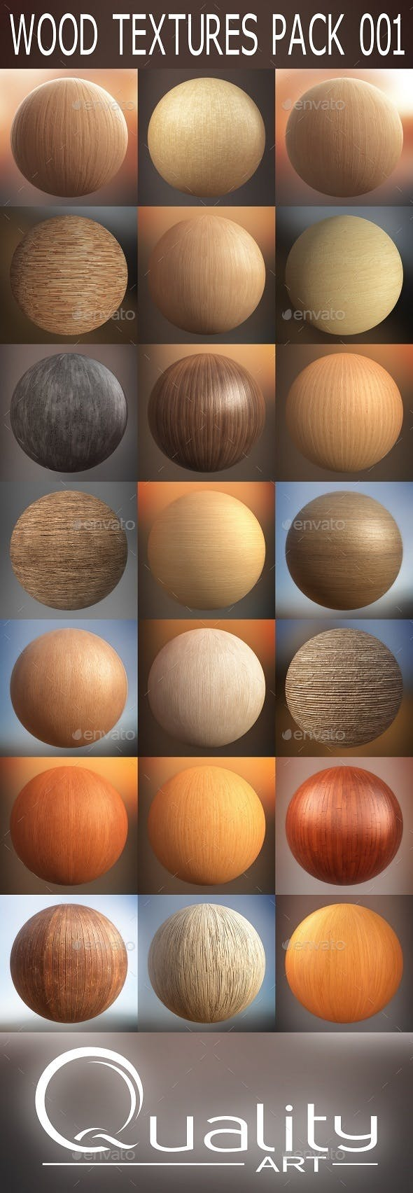 WOOD TEXTURES PACK 001 - 3DOcean Item for Sale
