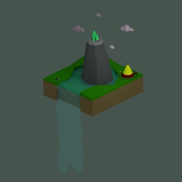 Low Poly Waterfall Landscape