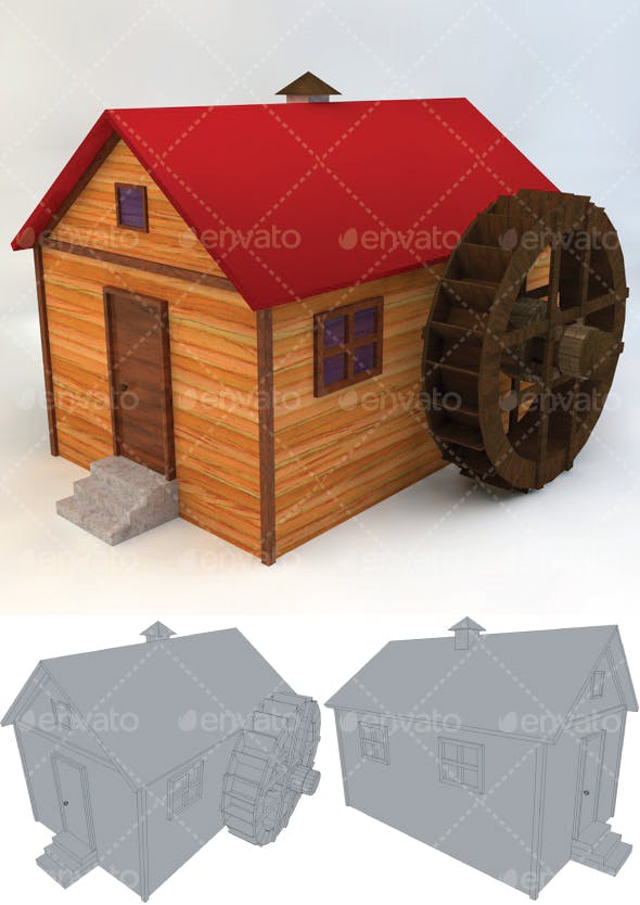 Watermill Low Poly - 3DOcean Item for Sale