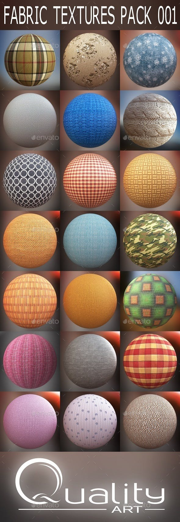 FABRIC TEXTURES PACK 001 - 3DOcean Item for Sale
