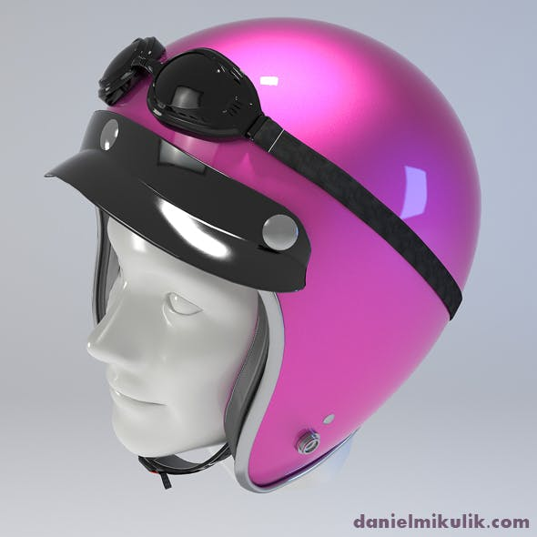 PINK Retro Motorcycle Helmet - 3DOcean Item for Sale