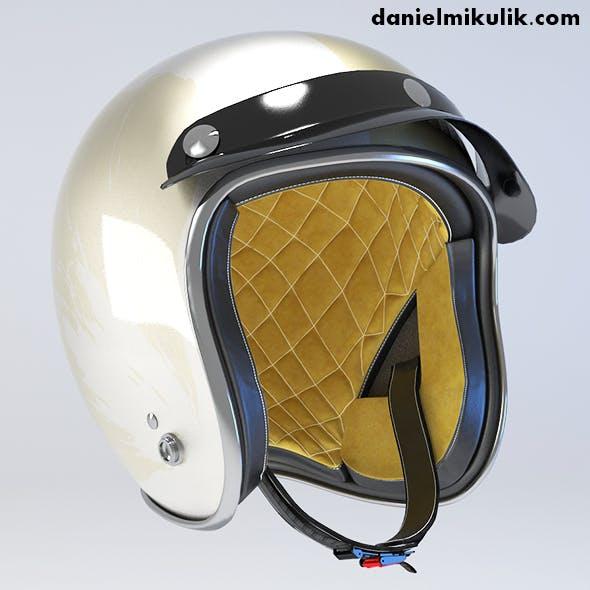 White Retro Motorcycle Helmet