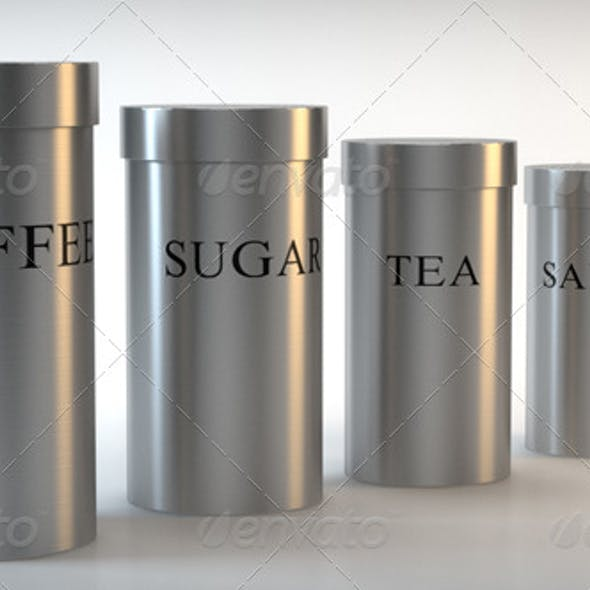 Brushed Steel Canister - Tea, Coffee, Salt, Sugar