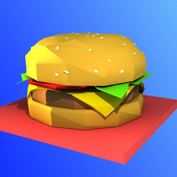 Low Poly Hamburger Model