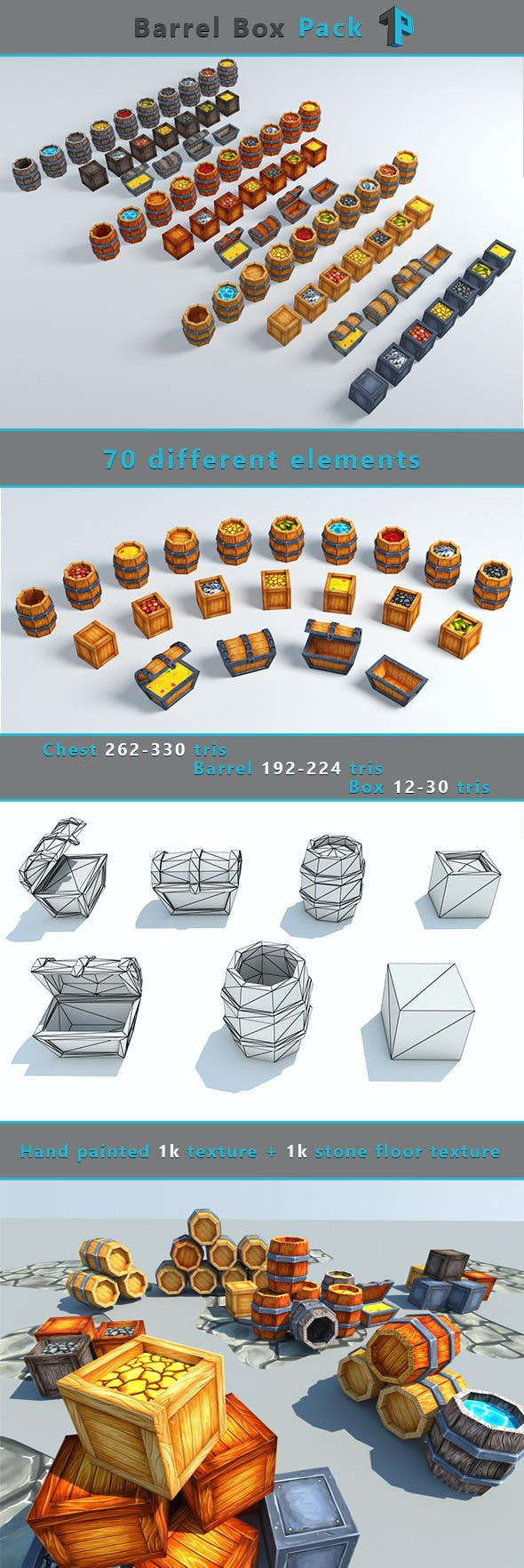 Low Poly Barrel-Box Pack - 3DOcean Item for Sale