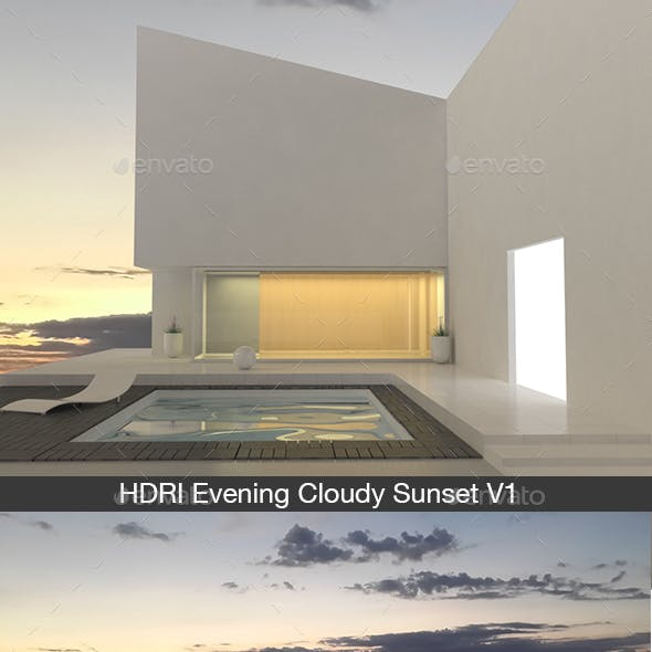 Evening Cloudy Sunset V1