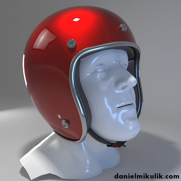 Retro Motorcycle Helmet with face Cover - 3DOcean Item for Sale
